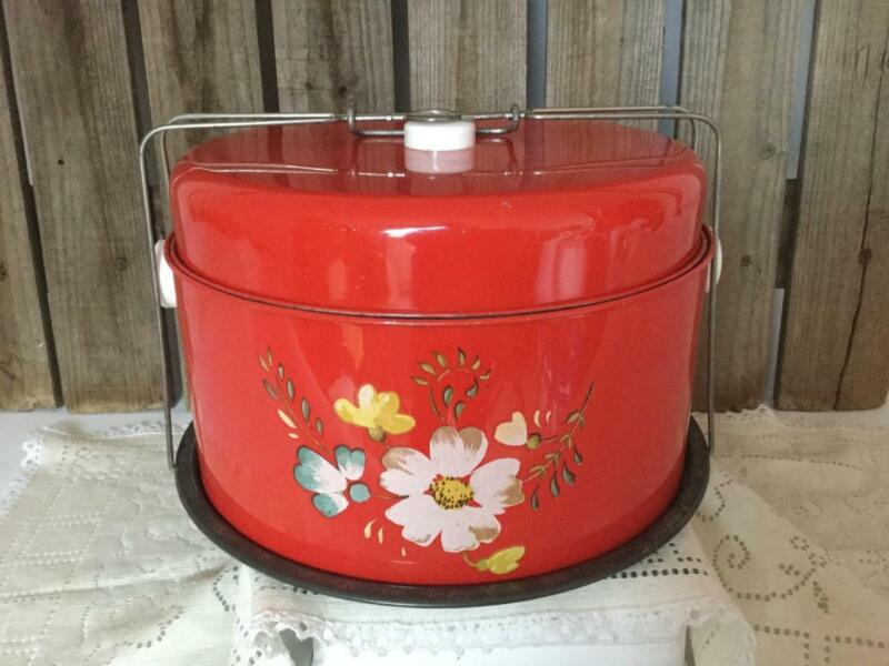Vintage Red Metal Cake Carrier Locking Saver Floral Center Farmhouse