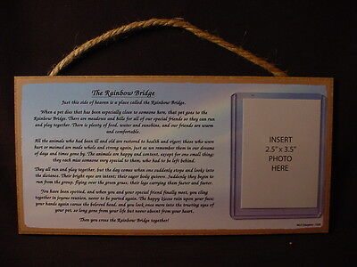 Memory RAINBOW BRIDGE MEMORIAL photo picture frame WOOD PLAQUE Dog Cat Pet sign