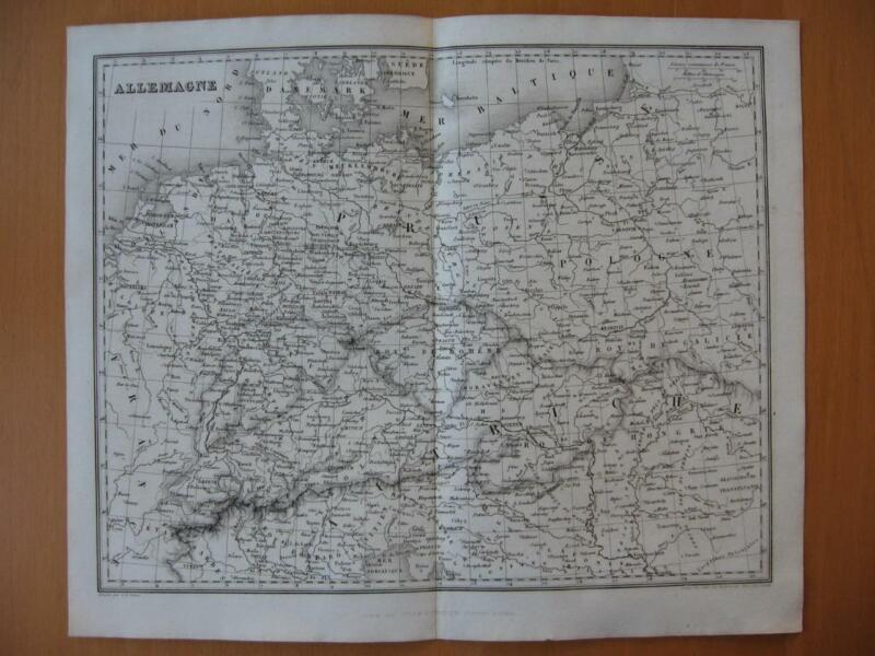 Small 1839 DUFOUR map -  GERMANY AUSTRIA POLAND CENTRAL EUROPE