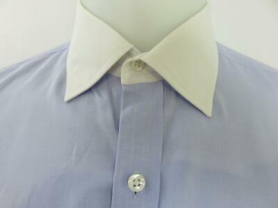 - Turnbull & Asser Dress Shirt Light Blue Herringbone White Collar & Cuffs Size 16
