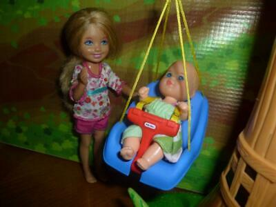 BARBIE BABY DOLL SIZE TOY DOLLHOUSE  OUTDOOR PLAYSET TREE DECK SWING + BABY DOLL