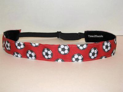 RED SOCCER No slip Headband adjustable non slip Sweaty Sports Hair Bands