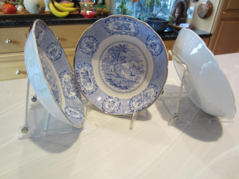 """3 Antique RIDGWAYS """"ORIENTAL"""" BLUE COUPE SOUP CEREAL BOWLS 7¼"""" Gold Trim England"""