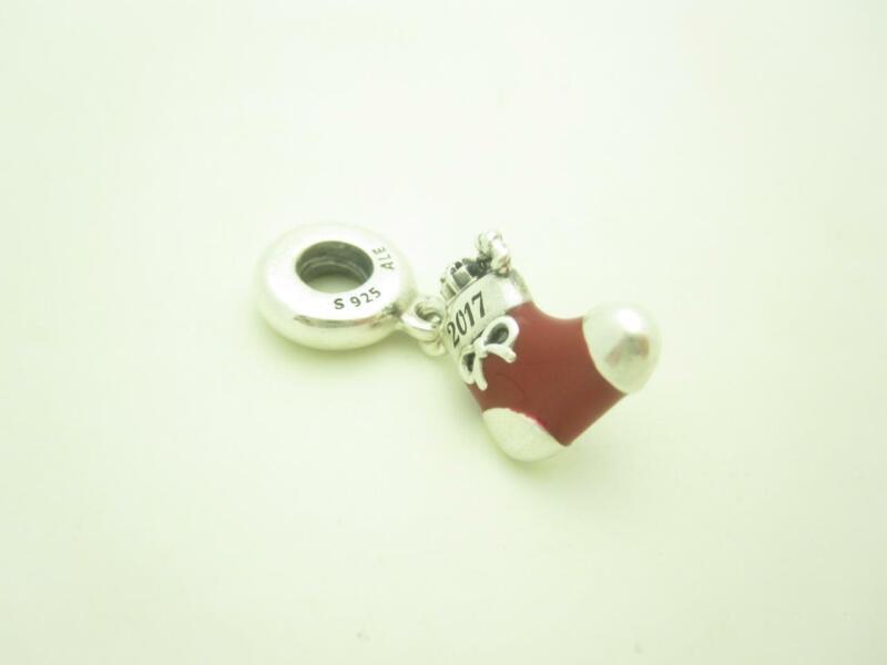 Pandora Sterling Silver Red Enamel Stocking Christmas Dangle Holiday Charm