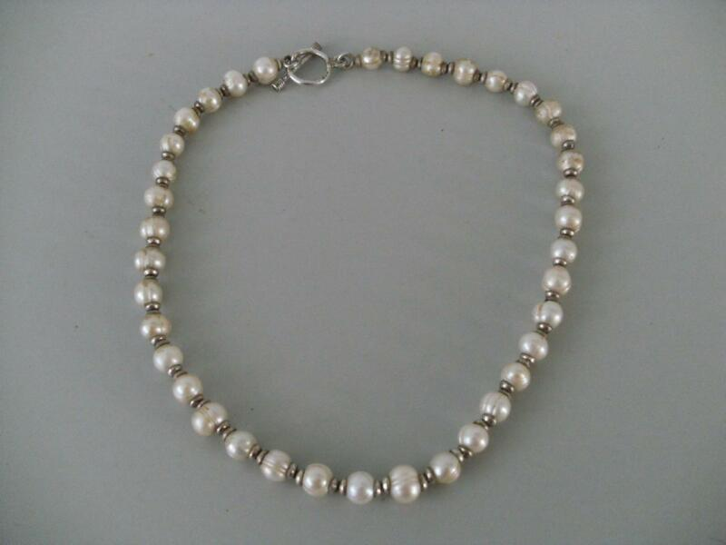 Vintage Sterling Silver & Faux Pearl Necklace