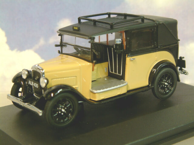 EXCELLENT OXFORD DIECAST 1/43 1930s AUSTIN LOW LOADER TAXI IN FAWN & BLACK AT007