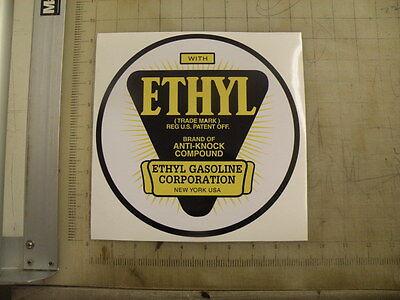 """Vintage Ethyl gasoline sticker 9"""" diameter"""