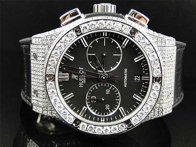 Mens New Custom Hublot Big Bang 44mm Leather Band Genuine Diamond Watch 10.5 Ct