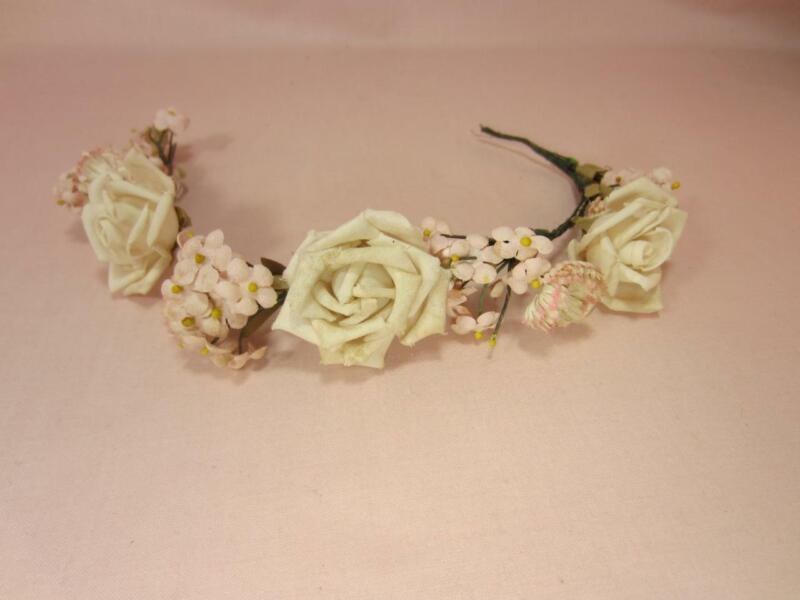 *Vintage Soft Pink, White Rose Flower Crown Tiara for Millinery, Bridal, Doll
