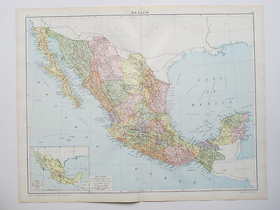1920 Map Mexico California Large Colour Map Gross