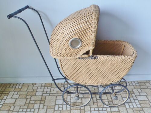 """Antique Doll Size Wicker Baby Stroller Buggy Carriage 24"""" High 26"""" Long Unique"""