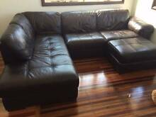 Full Leather sofa plus Chaise plus Ottoman Greenslopes Brisbane South West Preview