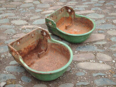 TWO VINTAGE RUSTIC WALL WATER TROUGHS / GARDEN PLANTERS