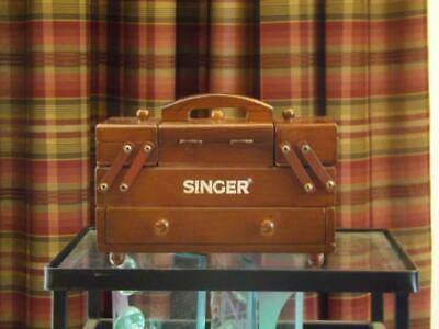 """Singer Sewing Box Accordion Fold Out Wood Organizer Carrier 8"""" Long 6"""" Tall"""
