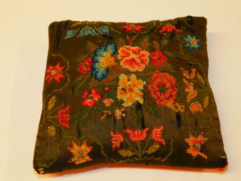 Antique Handmade NEEDLEPOINT MINI PILLOW Red Floral Tulips on Satin Pin Cushion