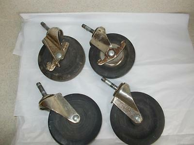 Set Of 4 Bassick Hard Rubber 5 Ball Bearing Swivel Stem Casters 2 Lock Used