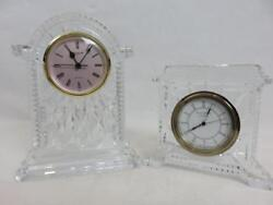 2 WATERFORD Crystal CLOCKS Lismore Carriage 7 & Coliseum Mantel 5 IRELAND Desk