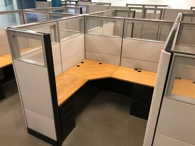 Tall 70h Herman Miller 6x6 Office Cubicles Workstations -glass