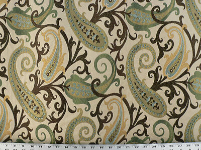 Woven Paisley Scroll - Drapery Upholstery Fabric Woven Jacquard Paisley Scrolls - Celery / Beige