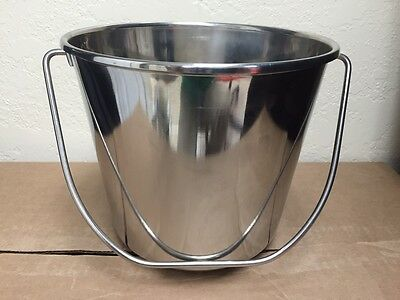 NEW Stainless Steel Pail Bucket 6 Qt Water Food Dog Kennel Milk Ice Heavy Duty