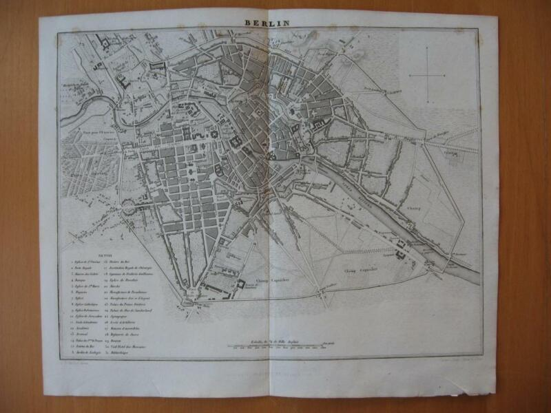 Small 1839 DUFOUR map -  City plan BERLIN Germany