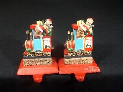 Christmas Stocking Holders Hangers Toy Train Teddy Bear Cast Iron Resin Set of 2