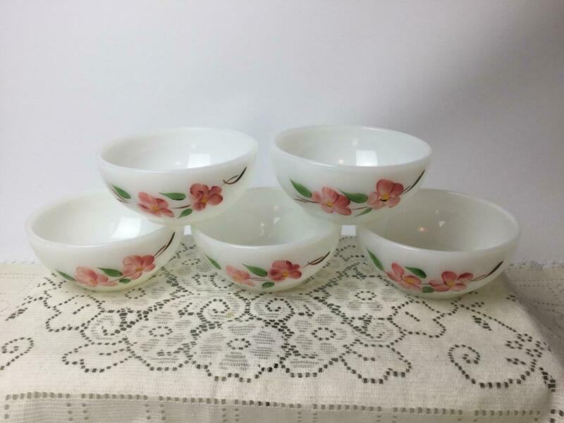 Vintage Fire King Peach Blossom White Milk Glass Bowl LOT of 5 USA