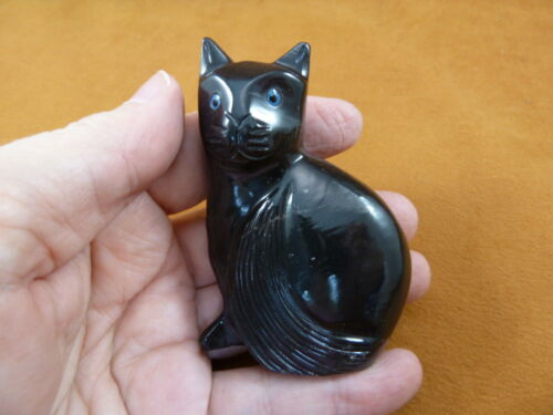 (Y-CAT-300) Black Onyx KITTY baby kitten CAT stone carving figurine I Love Cats