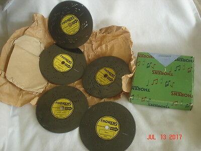 "NICE Vtg. BOXED Assorted SET 5 THORENS DISCS Switzerland AD 30 MUSIC BOX 4 1/2"""