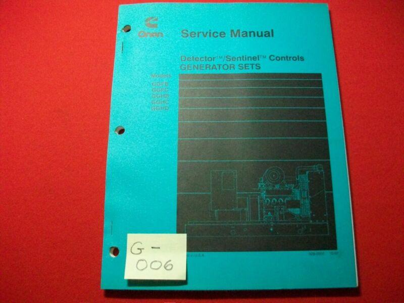 CUMMINS ONAN SERVICE MANUAL DETECTOR/SENTINEL CONTROLS GENERATOR SETS - 5 MODELS
