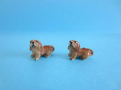 NEW SUPER MINI (MINIATURE) TWO LOVELY BABY DACHSHUND FIGURINES WITH NICE BOX for sale  Canada