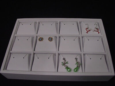 New 9l X 6w 12 Section White Leatherette 12p Earring Tray Display Case Tpe5w