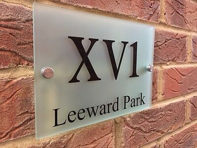 MODERN HOUSE SIGN PLAQUE ROMAN NUMERALS / STREET FROSTED GLASS ACRYLIC