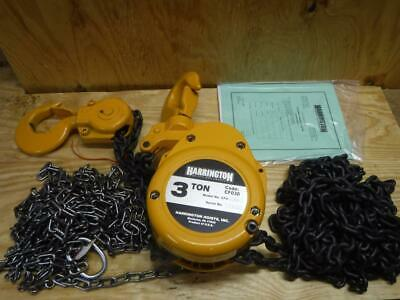 New Harrington Cf030-15 3 Ton 15 Foot Lift 1-1116 Hook Opening Chain Hoist