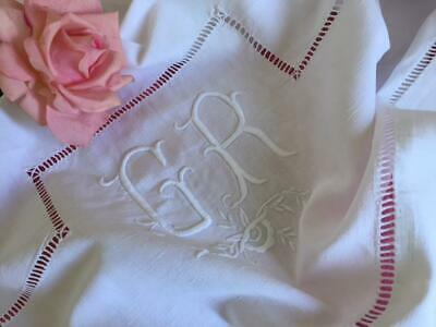 GORGEOUS ANTIQUE FRENCH LINEN METIS EMBROIDERY MONOGRAM 'G R' MONOGRAM ONLY