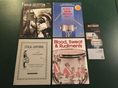 LOT Beginner Intermediate Drum Drummer Drumming Books Led Zeppelin Alfreds Snare