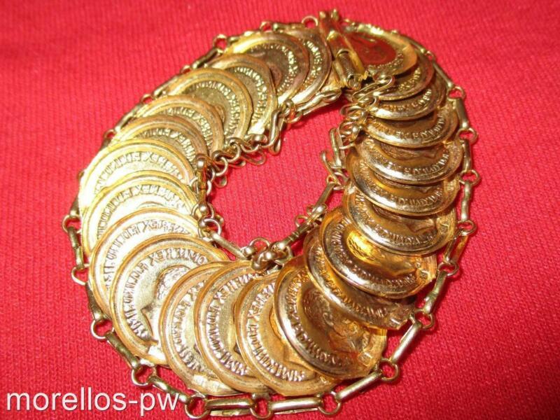 VINTAGE SOLID 22K GOLD 8 BRACELET KING GEORGE IV OBVERSE BRITISH SOVEREIGN IMAGE