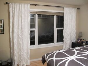 "95"" Chateau white drapes/curtains."