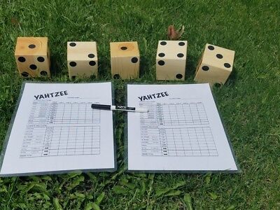 5 Natural Finish Wood Yard Yahtzee Lawn Dice Game Reusable Score &Marker Yardzee