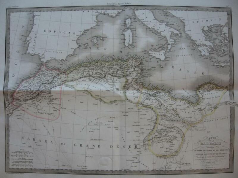 1829 - LAPIE - Large map  NORTH AFRICA  Barbary Morocco Algeria Libya