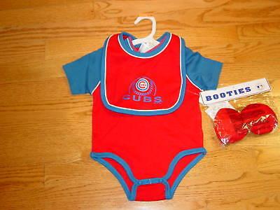 New Chicago Cubs Baseball Infant Baby Creeper Bib Booties 6/9 Months Red Blue  Blue Infant Baseball Bib