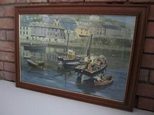 David Shepherd Mevagissey Harbour (Boats) Painting/Print Framed (Cornwall)
