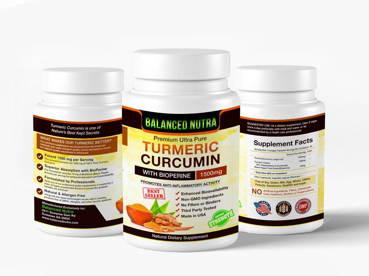Best Selling Turmeric Curcumin with Bioperine Black Pepper 1500mg Extra Strength 5
