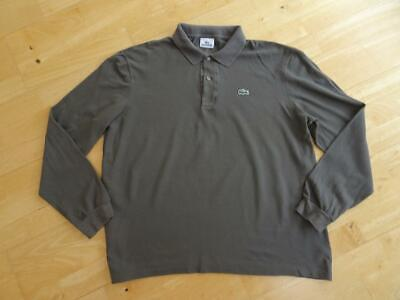 LACOSTE mens grey long sleeve polo top SIZE 5 ( LARGE ) AUTHENTIC EXCELLENT