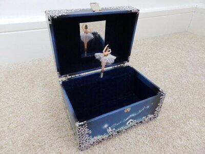 Vintage Design Philipp Sweden Blue Jewellery Music Box + Dancing Ballerina  1980