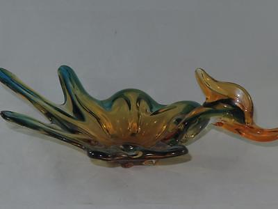 Vintage ARCHIMEDE SEGUSO Art Glass Dish Duck in Flight MURANO ITALY 1950s