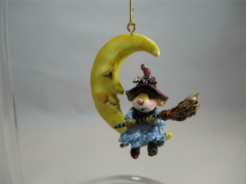 Wee Forest Folk M-623a Broom to the Moon! Halloween Ornament New in WFF Box