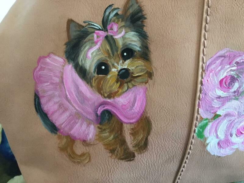 YORKIE PUPPY AND ROSES  HAND PAINTED HANDBAG DEAL!