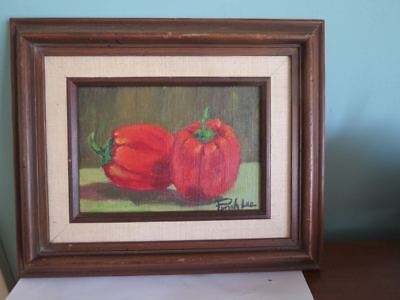 Vintage Singed MCM Framed Oil Painting Still Life REd Bell Peppers