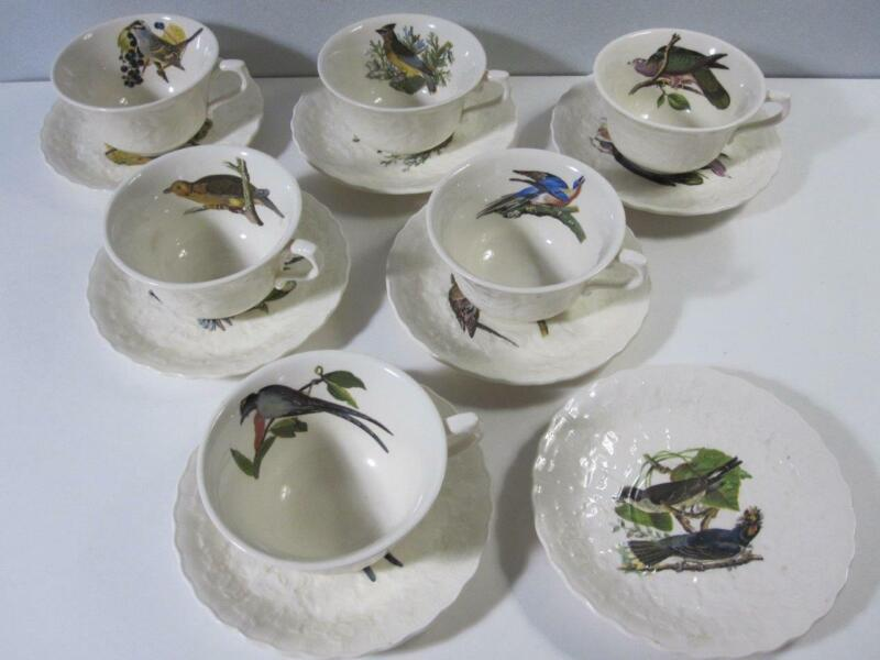 6 Meakin Audubon Birds of America Cups & 7 Saucers England As Found